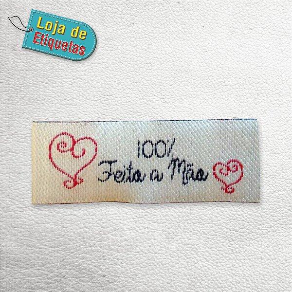 """Etiqueta Bordada """"Feito à mão"""" (100 peças)"""