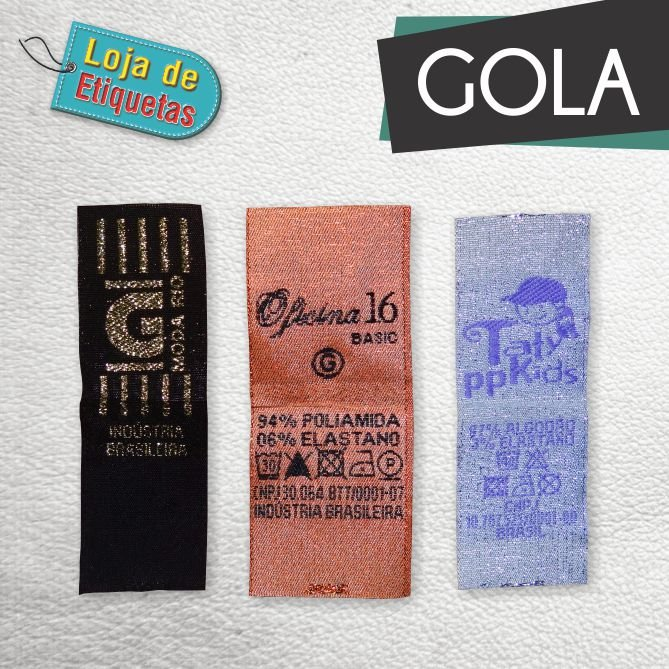 Etiqueta bordada Gola - Lurex (Com Brilho) (1.000 peças)