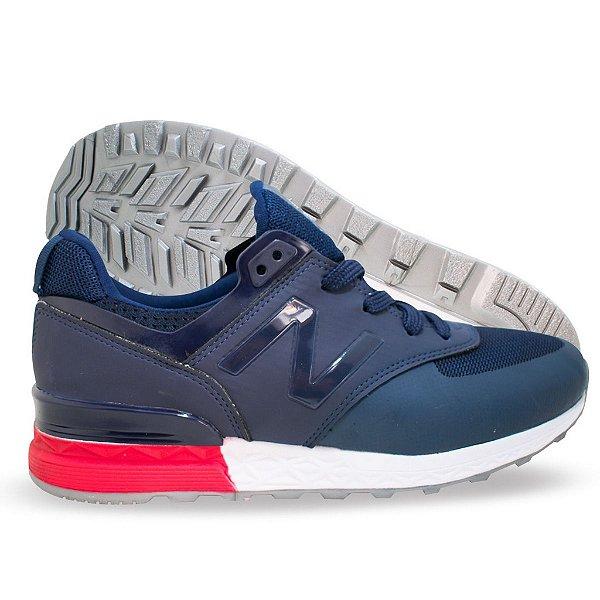 Tênis New Balance 574 Sport Marinho e Vermelho - malaca shoes calçados 87b6558bcf9a8