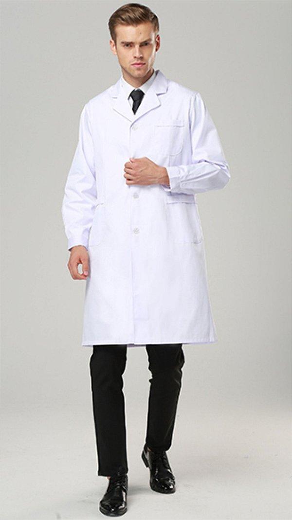Jaleco maasculino manga longa tecido gabardine