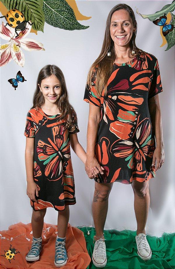 Vestido T- Shirt Borboletas - Infantil e Adulto