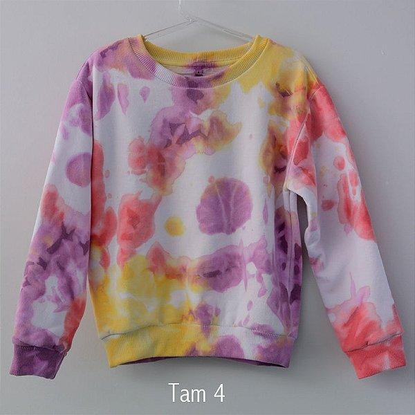 Moleton Tie Dye Coral e Amarelo - Infantil