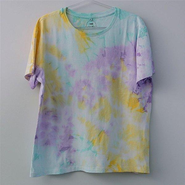 Camiseta Tie Dye Marmorizada Lilas e Amarelo