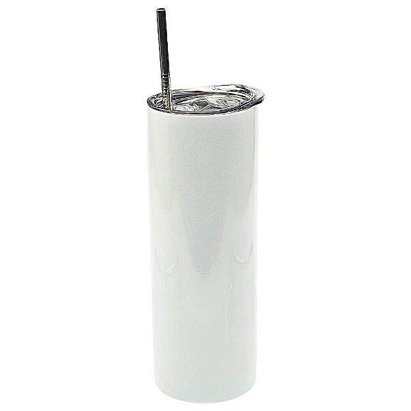 Copo Inox com Tampa e Canudo 450ml Branco Perolado Para Sublimação (3312) - 01 Unidade