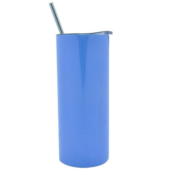 Copo Inox com Tampa e Canudo 450ml Azul Escuro Perolado Para Sublimação (3316) - 01 Unidade