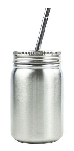 Copo Jarra de Aço Inox Com Canudo Prata 500ml Sem Alça (3321) - 01 Unidade