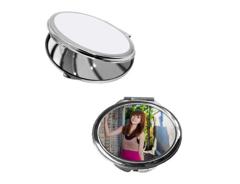 Espelho Estojo de Bolso Compacto Oval 6,3 X 7,2cm em Metal Para Sublimação (2386) - 01 Unidade