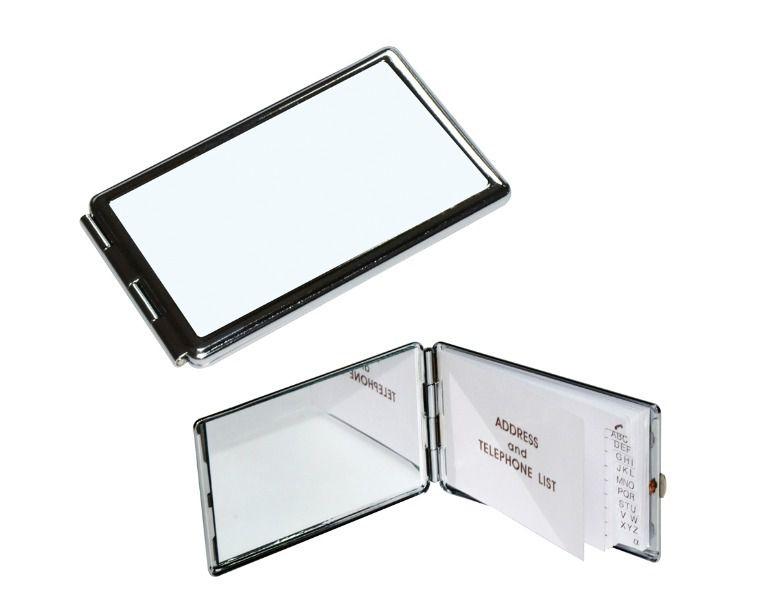 Espelho Estojo de Bolso Compacto Retangular Com Agenda 9,7 X 6,0cm em Metal Para Sublimação (2381) - 01 Unidade