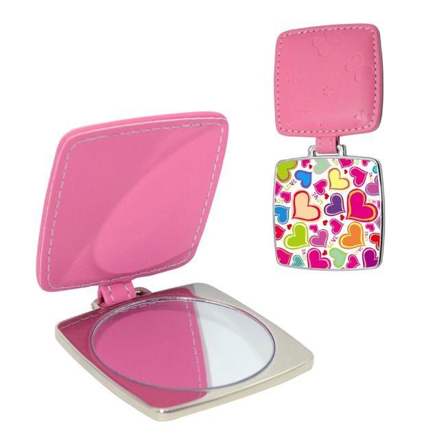 Espelho Estojo de Bolso Compacto em Metal Quadrado Com Capa de Couro Para Sublimação (2394) - 01 Unidade