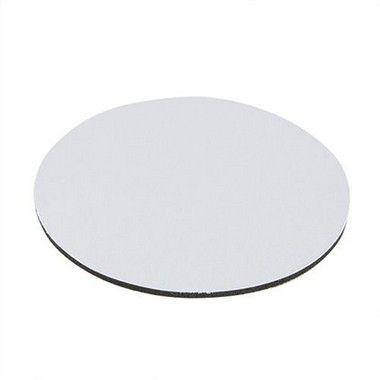 Mouse Pad Extra Branco Redondo 20x20cm Para Sublimação Com Base Em Latex Preto de 3mm Antiderrapante - Pacote Com 10 Unidades (1.B003)