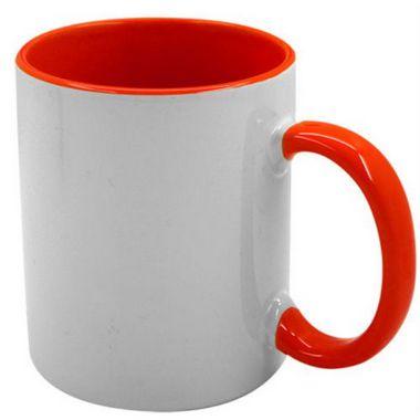Caneca Cerâmica 325ml Branca Alça e Interior Vermelho Para Sublimação ShopVirtua3000® (J003) - 01 Unidade