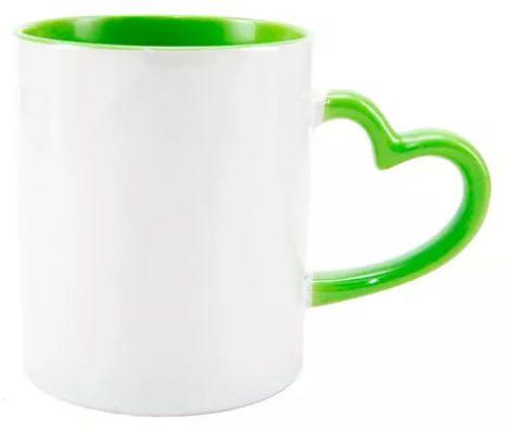 Caneca Cerâmica Branca Com Alça de Coração e Interior Verde 325ml Para Sublimação (3154) - 01 Unidade