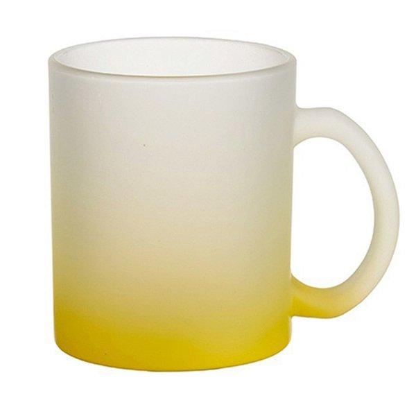 Caneca Chopp Vidro Degradê Amarelo 325ml Fosca Jateada Para Sublimação (3463) - 01 Unidade