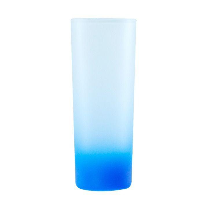 Copo Mini Drink 90ml Vidro Jateado Fosco Degradê Azul Claro Para Sublimação (3460) - 01 Unidade