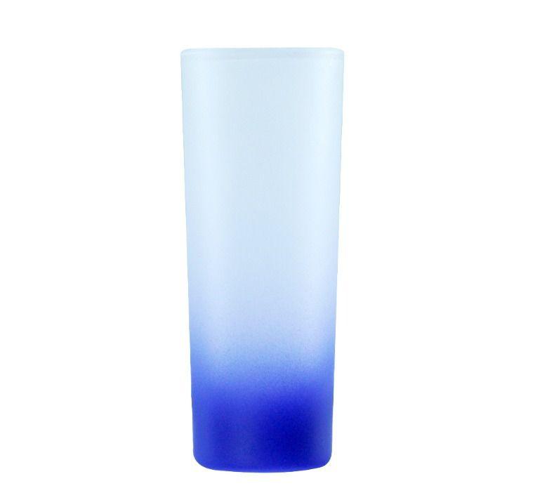 Copo Mini Drink 90ml Vidro Jateado Fosco Degradê Azul Escuro Para Sublimação (3462) - 01 Unidade