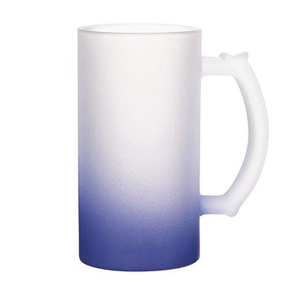 Caneca de Chopp Vidro Jateado Degradê Azul Escuro 475ml Para Sublimação (LiveSub®) (3446) - 01 Unidade