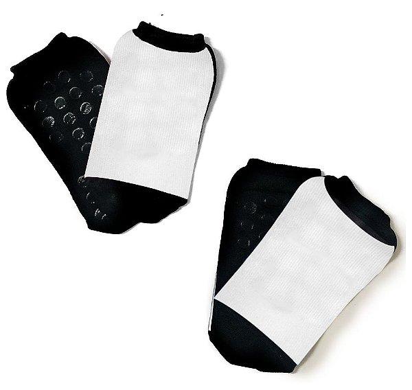 Meia Buffet Antiderrapante Poliamida Tamanho XG (39/43) Preta Com Tarja Branca Para Sublimação - 01 Par