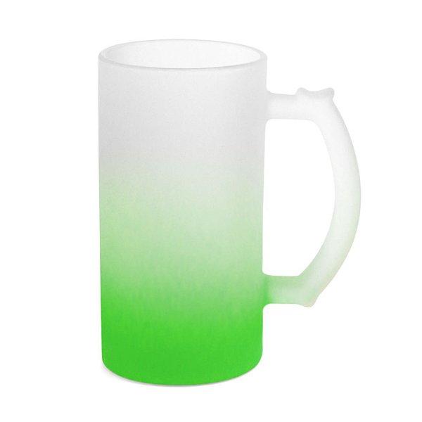 Caneca de Chopp Vidro Jateado Degradê Verde 475ml Para Sublimação (LiveSub®) (3445) - 01 Unidade