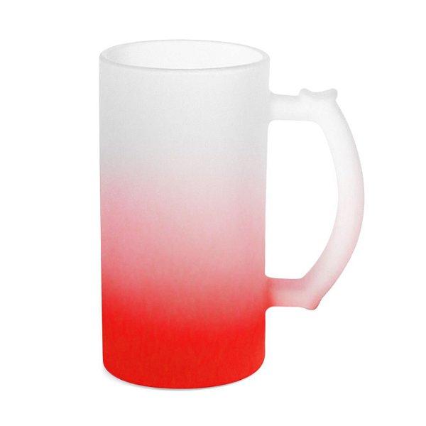 Caneca de Chopp Vidro Jateado Degradê Vermelho 475ml Para Sublimação (LiveSub®) (3440) - 01 Unidade