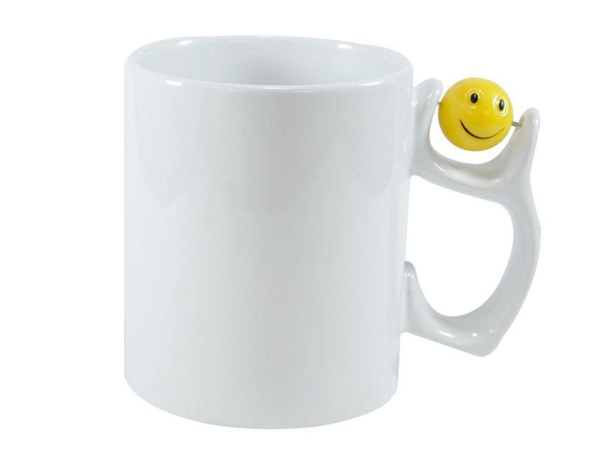Caneca Cerâmica Branca Alça com Smile Face 3d 325ml Para Sublimação (254) - 01 Unidade