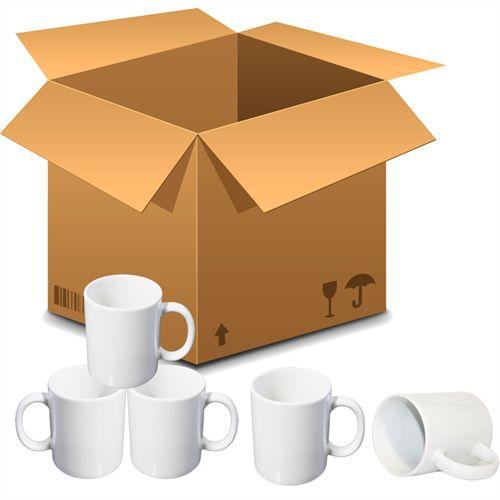 Caneca Cerâmica Branca Classe AAA Mecolour Premium 325ml Resinada P/ Sublimação (B001) - 36 Unidades (Caixa Fechada)