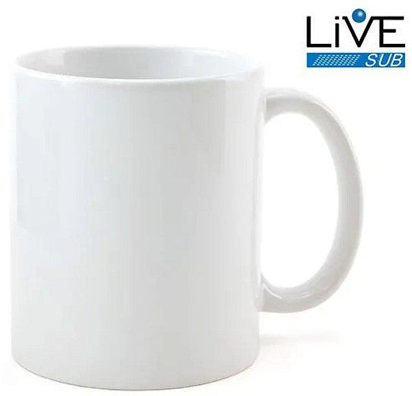 Caneca Cerâmica ShopVirtua3000® Branca Classe +AAA 325ml Importada Resinada P/ Sublimação (319) - 36 Unidades (Caixa Fechada)