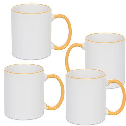 Caneca Cerâmica Branca com Borda e alça em Amarelo 325ml Resinada P/ Sublimação (B087) - 36 Unidades