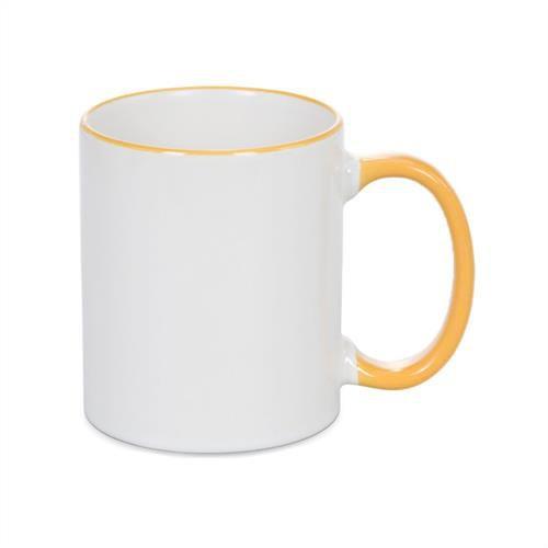 Caneca Cerâmica Branca com Borda e alça em Amarelo 325ml Resinada P/ Sublimação (B087) - 01 Unidade