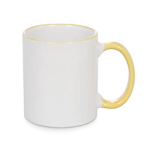 Caneca Cerâmica Branca com Borda e alça em Amarelo Ouro 325ml Resinada P/ Sublimação (B094) - 01 Unidade