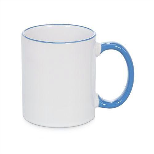 Caneca Cerâmica Branca com Borda e alça em Azul Claro 325ml Resinada P/ Sublimação (B088) - 01 Unidade
