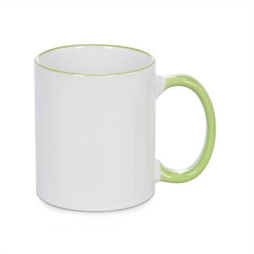 Caneca Cerâmica Branca com Borda e alça em Verde Claro 325ml Resinada P/ Sublimação (B090) - 01 Unidade