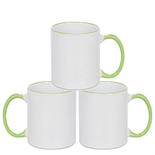 Caneca Cerâmica Branca com Borda e alça em Verde Claro 325ml Resinada P/ Sublimação (B090) - 36 Unidades (Caixa Fechada)