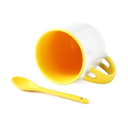 Caneca Cerâmica Branca Para Sublimação Com Alça, Interior e Colher em Amarelo 354ml (216) - 36 Unidades