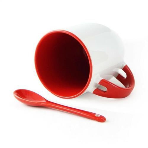 Caneca Cerâmica Branca Para Sublimação Com Alça, Interior e Colher em Vermelho 354ml Live (220) - 36 Unidades