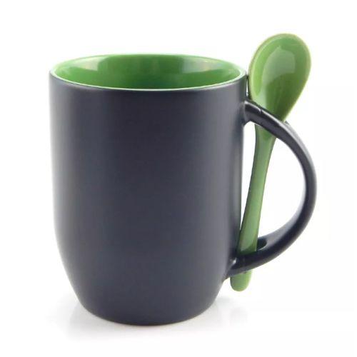 Caneca Cerâmica Mágica Preta Fosca 325ml Resinada para Sublimação Com Interior e Colher em Verde (B169) - 01 Unidade