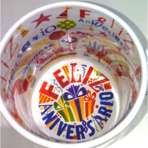Caneca Cerâmica 325 ml Branca Motto Mug - Feliz Aniversário ShopVirtua3000® (1934) - 36 Unidades (Caixa Fechada)