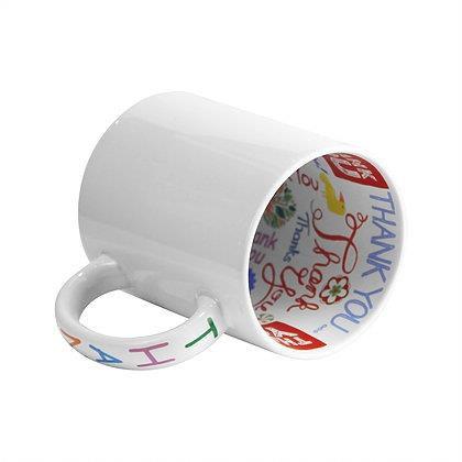 Caneca Cerâmica Branca 325ml Tema Interior e Alça Thank You - Mecolour (B177) - 36 Unidades (Caixa Fechada)