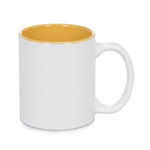 Caneca Cerâmica Branca Somente com interior em Amarelo 325ml Resinada P/ Sublimação - 01 Unidade