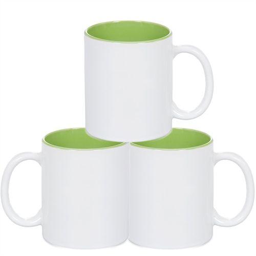 Caneca Cerâmica Branca Somente com interior em Verde 325ml Resinada P/ Sublimação - 36 Unidades (Caixa Fechada)