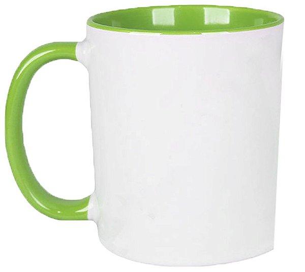 Caneca Cerâmica Branca c/ Interior e Alça Verde Claro 325 ml ShopVirtua3000® (459) - 01 Unidade