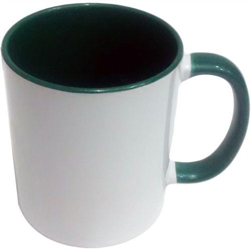 Caneca Cerâmica Branca c/ Interior e Alça Verde Escuro 325ml ShopVirtua3000® (1939) - 01 Unidade