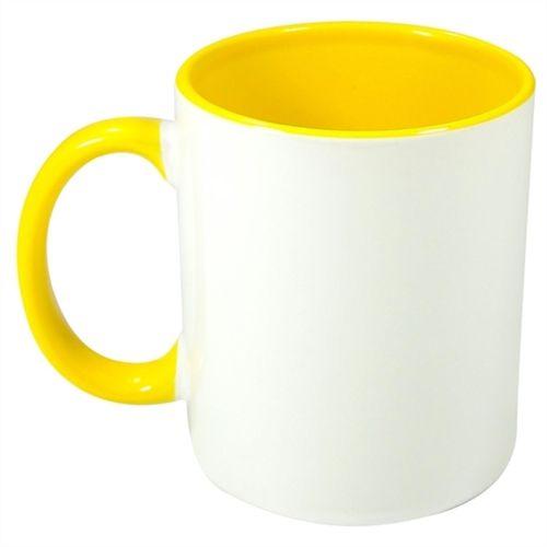 Caneca Cerâmica Branca com interior e alça em Amarelo 325ml Resinada P/ Sublimação (B007) - 01 Unidade