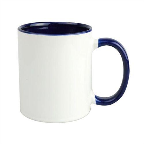Caneca Cerâmica Branca com interior e alça em Azul Escuro 325ml Resinada P/ Sublimação (B002) - 01 Unidade