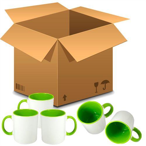 Caneca Cerâmica Branca com interior e alça em Verde Claro 325ml Resinada P/ Sublimação (B010) 36 Unidades - (Caixa Fechada)