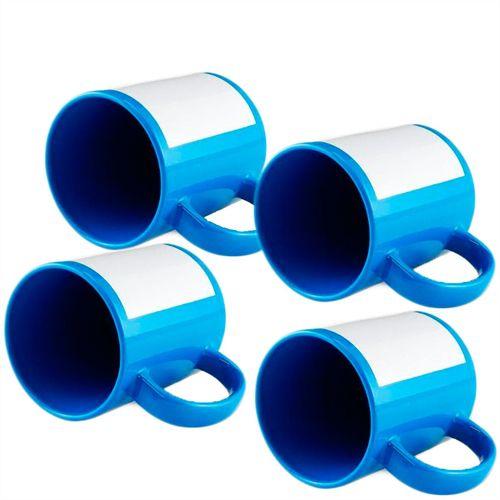 Caneca Cerâmica Azul Claro com Tarja Branca 325ml Resinada P/ Sublimação (B019) - 36 Unidades (Caixa Fechada)