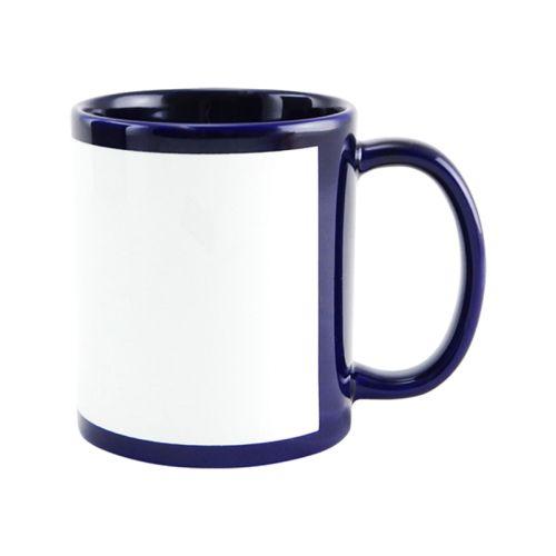 Caneca Cerâmica Azul Marinho com Tarja Branca 325ml Resinada P/ Sublimação (B021) - 01 Unidade