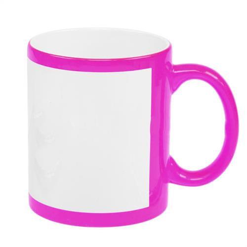 Caneca Cerâmica Rosa Neon com Tarja Branca 325ml Resinada P/ Sublimação (B130.1) - 01 Unidade