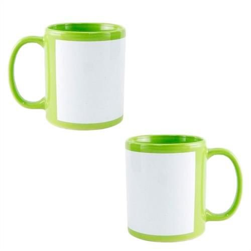 Caneca Cerâmica Verde Claro com Tarja Branca 325ml Resinada P/ Sublimação (B020) - 01 Unidade