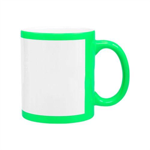 Caneca Cerâmica Verde Neon com Tarja Branca 325ml Resinada P/ Sublimação (B127) - 01 Unidade