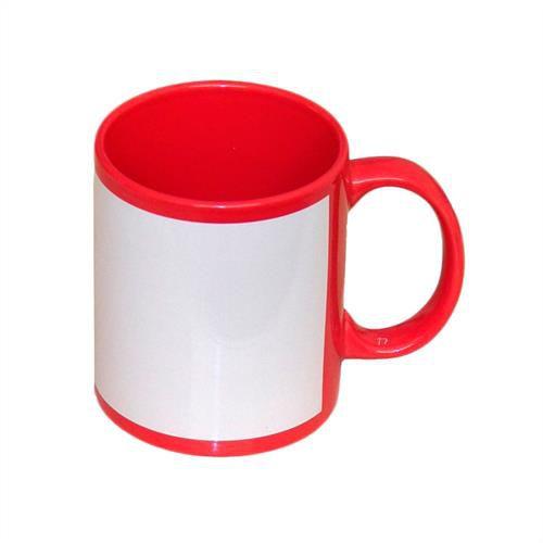 Caneca Cerâmica Vermelha com Tarja Branca 325ml Resinada P/ Sublimação (B018) - 01 Unidade